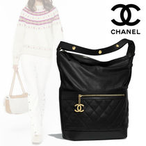 CHANEL 2WAY Plain Leather Elegant Style Bags