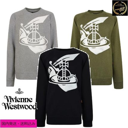 Vivienne Westwood Sweatshirts Crew Neck Pullovers Street Style Long Sleeves Cotton