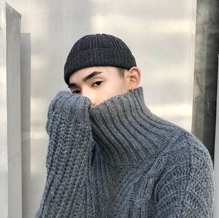 Knits & Sweaters Street Style Long Sleeves Plain Oversized Knits & Sweaters