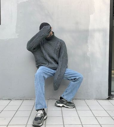 Knits & Sweaters Street Style Long Sleeves Plain Oversized Knits & Sweaters 12