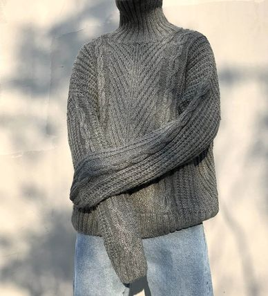 Knits & Sweaters Street Style Long Sleeves Plain Oversized Knits & Sweaters 13