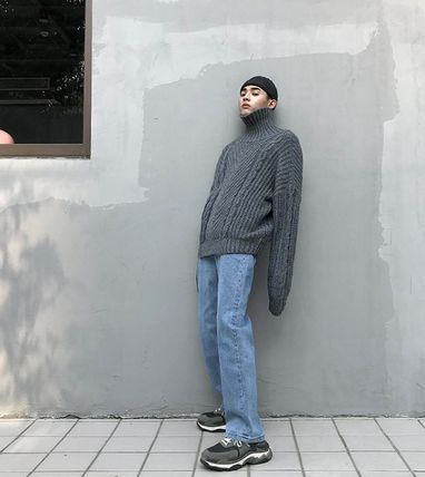Knits & Sweaters Street Style Long Sleeves Plain Oversized Knits & Sweaters 14