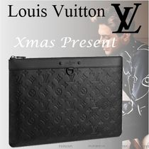 Louis Vuitton Monogram Unisex Street Style Bag in Bag A4 Leather Clutches