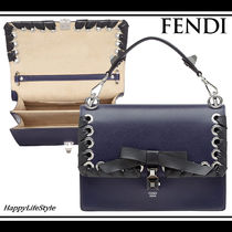 FENDI KAN I Calfskin 2WAY Chain Plain Elegant Style Shoulder Bags