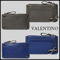 VALENTINO Studded Chain Leather Card Holders