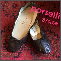 PORSELLI Plain Leather Ballet Shoes