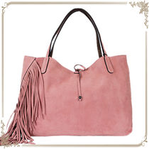 GIANNI CHIARINI Casual Style Suede Fringes Totes