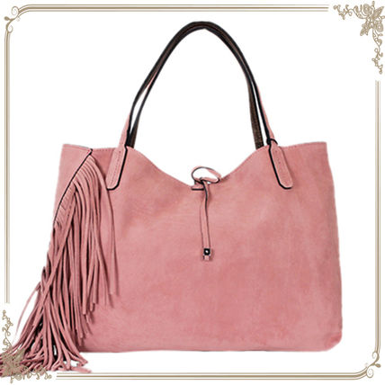 Casual Style Suede Fringes Totes