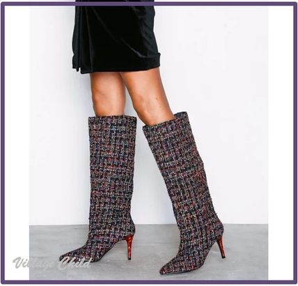 Other Check Patterns Pin Heels Elegant Style High Heel Boots