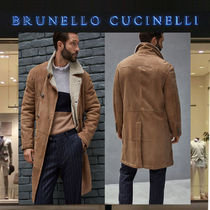 BRUNELLO CUCINELLI Plain Leather Long Oversized Peacoats Coats