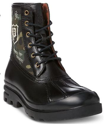 POLO RALPH LAUREN Skull Camouflage Mountain Boots Street Style Leather