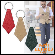 HERMES Plain Leather Keychains & Holders