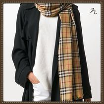 Burberry Other Check Patterns Unisex Street Style Scarves