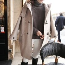 Casual Style Street Style Plain Medium Duffle Coats