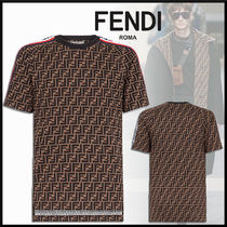 FENDI Monogram Unisex Cotton Short Sleeves Logos on the Sleeves