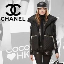 CHANEL Short Casual Style Blended Fabrics Street Style Bi-color