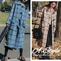 Tartan Other Check Patterns Casual Style Long Oversized