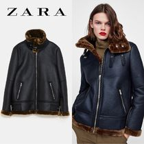 ZARA Faux Fur Bi-color Plain Medium Biker Jackets