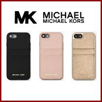 Michael Kors Unisex Plain Leather Smart Phone Cases