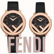 FENDI RUNAWAY Casual Style Leather Round Digital Watches