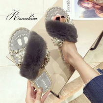 Open Toe Casual Style Fur Blended Fabrics With Jewels