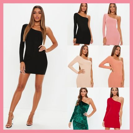 Short Tight Long Sleeves Plain Party Style Dresses