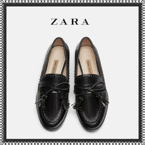 ZARA Plain Toe Rubber Sole Tassel Studded Plain Elegant Style