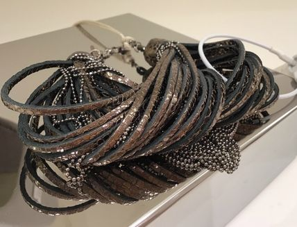 Costume Jewelry Blended Fabrics Chain Leather Brass