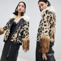 ASOS Leopard Patterns Casual Style Faux Fur Biker Jackets