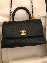 CHANEL MATELASSE 2WAY Plain Leather Party Style Python Elegant Style