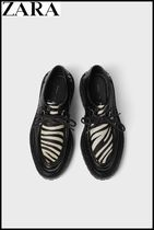 ZARA Zebra Patterns Plain Leather U Tips Oxfords