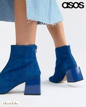 ASOS Casual Style Suede Plain Block Heels Ankle & Booties Boots