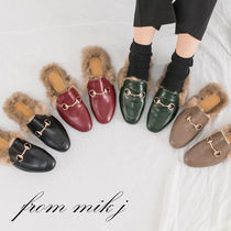 Wedge Faux Fur Street Style Plain Slippers