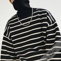 Stripes Street Style Long Sleeves Cotton Oversized