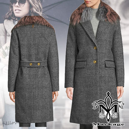 Other Check Patterns Wool Medium Trench Coats
