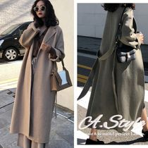 Casual Style Cashmere Plain Long Oversized Wrap Coats