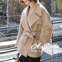 Short Wool Plain Oversized Elegant Style Wrap Coats