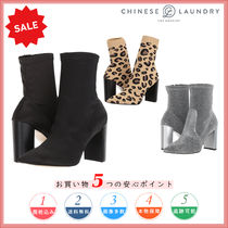 CHINESE LAUNDRY Leopard Patterns Round Toe Casual Style Plain Chunky Heels