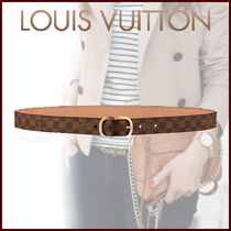 Louis Vuitton DAMIER Other Check Patterns Blended Fabrics Elegant Style Belts