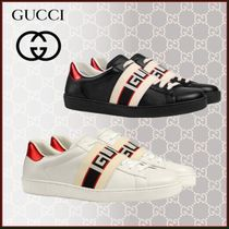 GUCCI Stripes Loafers Unisex Blended Fabrics Street Style Plain