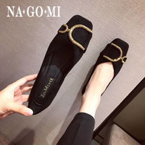 Square Toe Casual Style Suede Plain Flats