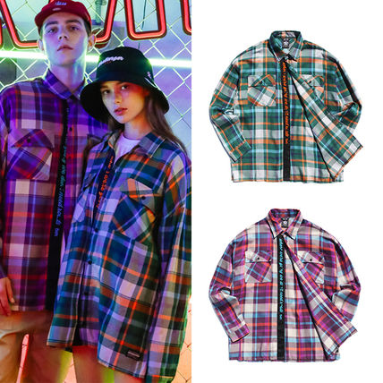 TWN Shirts Tartan Unisex Street Style Long Sleeves Cotton Oversized