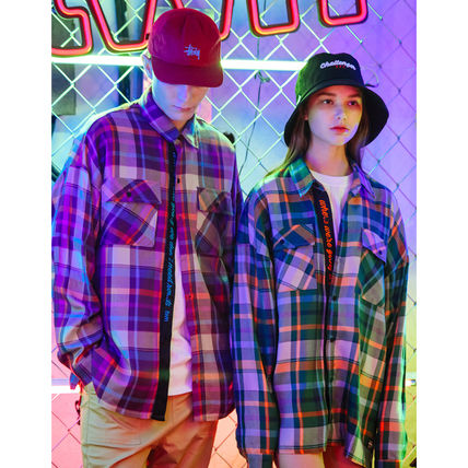 TWN Shirts Tartan Unisex Street Style Long Sleeves Cotton Oversized 2