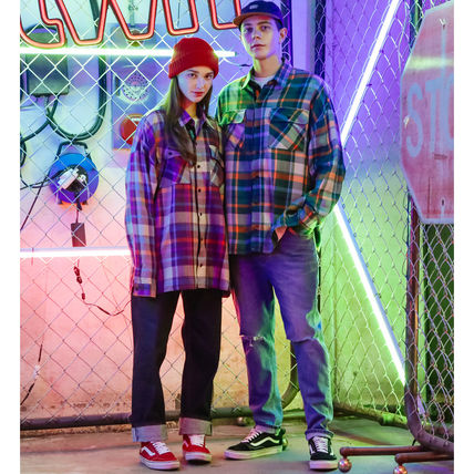 TWN Shirts Tartan Unisex Street Style Long Sleeves Cotton Oversized 3