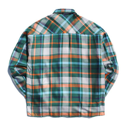 TWN Shirts Tartan Unisex Street Style Long Sleeves Cotton Oversized 13