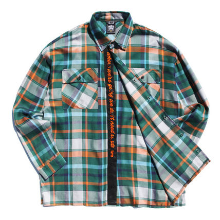 TWN Shirts Tartan Unisex Street Style Long Sleeves Cotton Oversized 14
