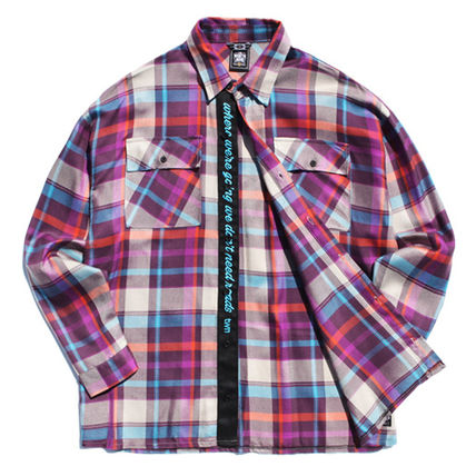 TWN Shirts Tartan Unisex Street Style Long Sleeves Cotton Oversized 20
