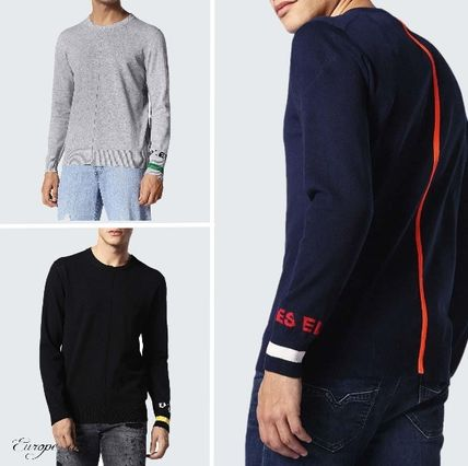 DIESEL Knits & Sweaters Crew Neck Pullovers Long Sleeves Cotton Knits & Sweaters