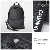 Calvin Klein Unisex Faux Fur Street Style A4 Plain Backpacks