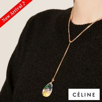 CELINE Costume Jewelry Blended Fabrics Chain Brass Elegant Style